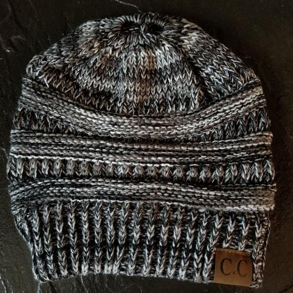 C.C. Messy Bun Ponytail Beanie Black White Hat 9df079c048f8